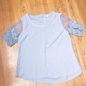 BLUE SHIRT WITH MESH SLEEVES